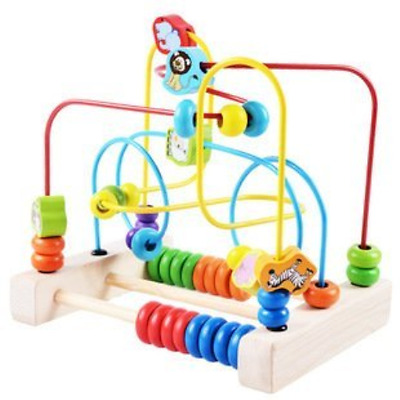 Educational Baby Kids Wooden Circle Bead Maze Toddler Intelligence Toys Gift New