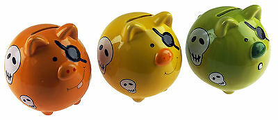 Set Of 3 Pirate Pig Piggy Bank - Ceramic Money Box For Kids