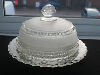 Antique Beautiful Design Crystal Butter Dish With Lid