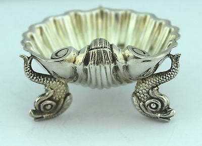 Pair Of Antique Solid Silver Dolphin Open Salt Cellars c.1866