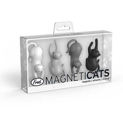 Fred & Friends Magneticats Fridge Magnets, Set of 4 Playful Cats for Kitchenware