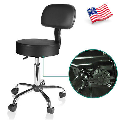 Black PU Drafting Height Leather Mid-Back Task Chair Office Desk Office Chair