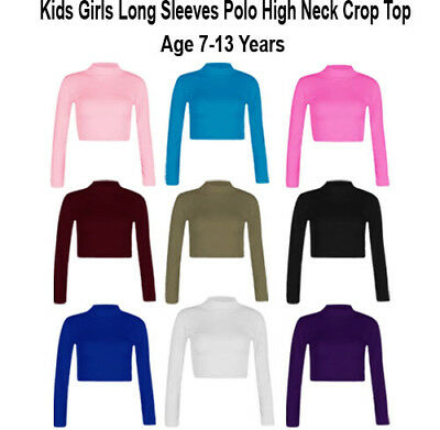 NEW Kids Girls Plain Turtle Polo High Neck Long Sleeve Crop Top Shirt Age 7-13 Y