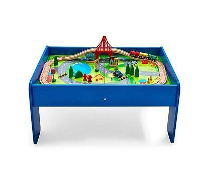 6 in 1 Wooden Train Table & 60 pc Wooden Train Set Chalk board & Games Table