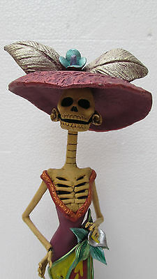 BEAUTIFUL CATRINA, dia de muertos, handmade ,ethnic mexican day of the dead 16""