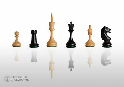 """USCF Sales The Odessa Chess Set - Pieces Only - 4.6"""" King - Ebonized Boxwood"""