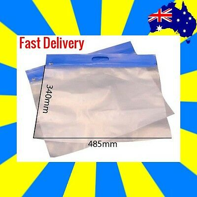 4 x Large Plastic Zipper Bags with Handles (Red, Green & Blue) Available