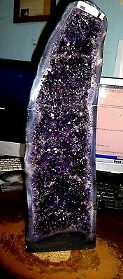 Tall Repaired  Brazilian Dark Amethyst Crystal Cathedral Geode Cluster Polished