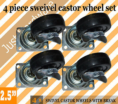 "4 X 2.5"" 65mm SWIVEL CASTOR castors CASTER WHEEL 4 brake trolley castor wheels"