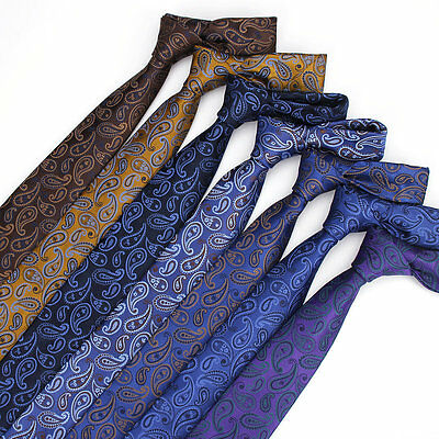Men's Skinny Neck Ties Polyester Silk Paisley Slim Suits Necktie Party Gift 7CM