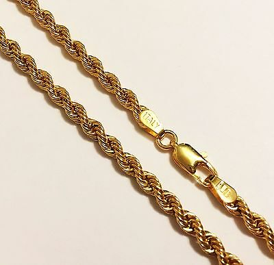 """10k yellow gold(3mm) thick Italian rope chain(6.5gr/24""""inch)"""