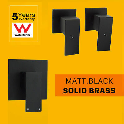 Square Black Wall Mount Basin Hot Cold Top Tap Bath/Shower Mixer Wall Handle