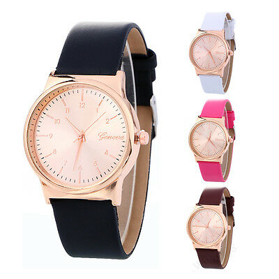 Simple Fashion Men Women Watch Rose Gold Dial Leather Analog Quartz WristWatch