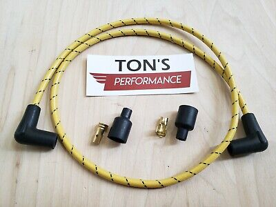 "40"" OLD SCHOOL VINTAGE BRAIDED CLOTH Yellow BLACK SPARK PLUG WIRE 7MM BOBBER"