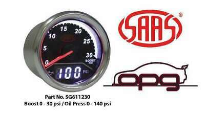 Saas Trax Digital Dual Twin Gauge Diesel Boost 0-30 Psi Oil Pressure 0-140 Psi