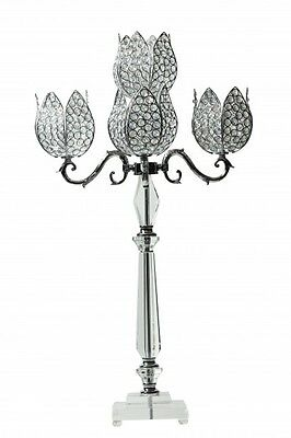 Crystal Candelabra with Elegant Flower Shape Candle Holders