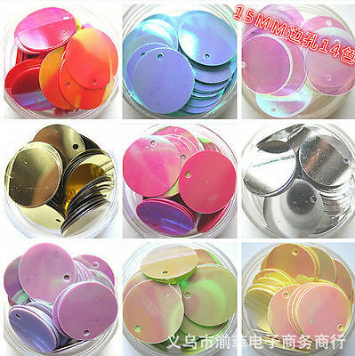 NEW DIY15mm 100pcs shiny Round loose sequins sewing Wedding many pick