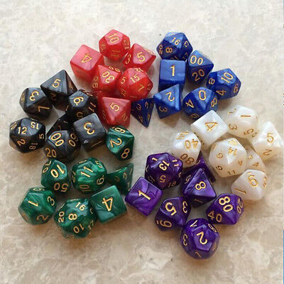 Set of 7 Sided Gem Dice D4-D20 Pearl Grain For TRPG Game Dungeons & Dragons D&D
