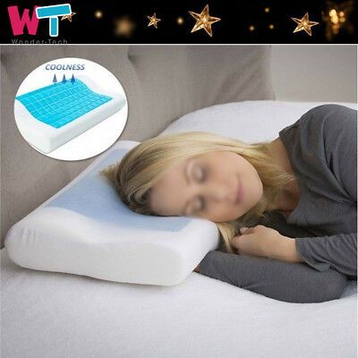 Comfort  Memory Foam White Bed Pillow Blue Cooling Gel Orthopedic Sleep