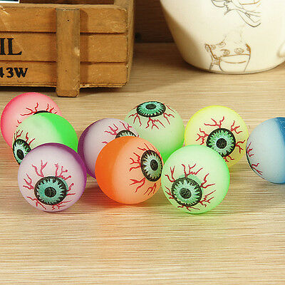 10Pcs 32mm Funny Eyeball Candy Colors High Bounce Ball for Toy Machine Cute