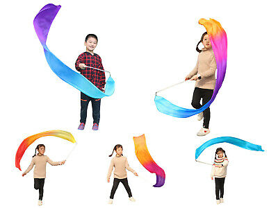 6 designs, 1pc 1.8m/1.5m*30cm light weight colorful silk streamer for kids play