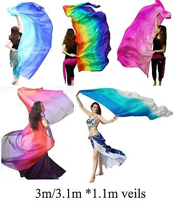 rolled edges 1pc 2.7m*1.1m 5//6 colors 5 mommes belly dance silk veil 9/'x45/""