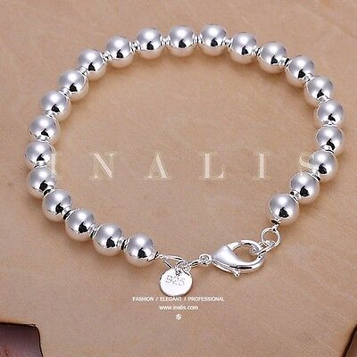 New 925 Sterling Silver Round beads String Chain Beaded Bracelet Bangle Jewelry