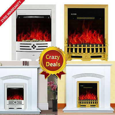 2000W Electric Fireplace Suite Light Cream Surround Freestanding Inset Fire Set