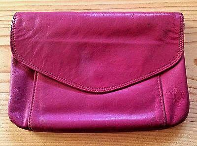 Vintage MUNDI Pink Clutch Wallet Coin Purse Genuine Soft Leather Made in Brazil