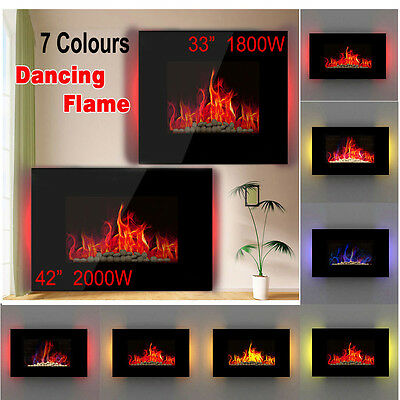 Wall Mounted Glass Electric Fireplace Heater Fire Remote LED Backlit Back Lights