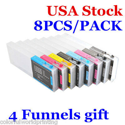 USA!!! 300ml 8pcs Epson Stylus Pro 4880 Refill Ink Cartridges with 4 Funnels