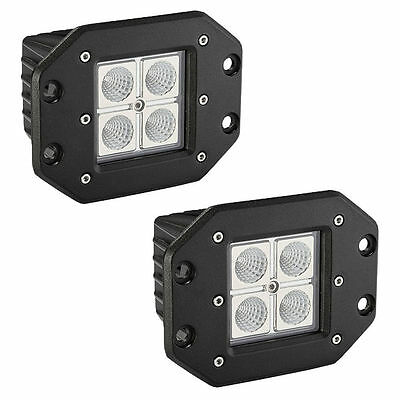 2x 16W Cree Square Flush Mount Flood Beam LED Work Light Off Road Fog 4wd truck