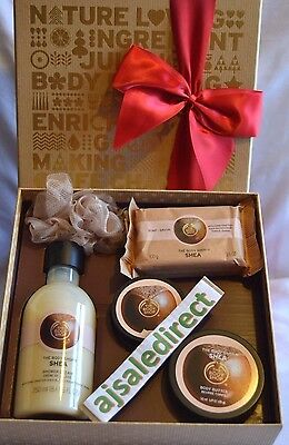 NEW The Body Shop Gift Set SHEA Shower Gel Soap Body Butter & Scrub