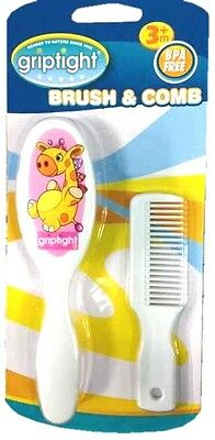 Griptight Giraffe Design Soft Bristle Baby Brush and Comb Set - Pink