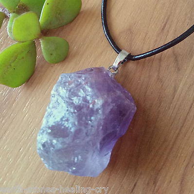 Large AMETHYST Crystal Healing Natural Raw Unpolished Gemstone Pendant Necklace