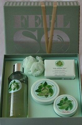 The Body Shop Feel So Good Gift Set FUJI GREEN TEA Body Wash Soap Butter Scrub