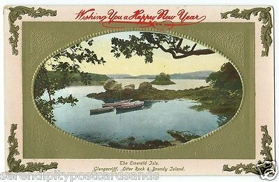 Cork Glengarriff Otter Rock & Brandy Island Embossed with Happy New Year Message