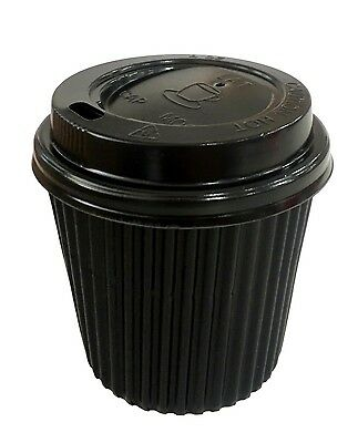 60pk Disposable Coffee Cups w Lids takeaway Thick Paper Cup Take Away 120ml