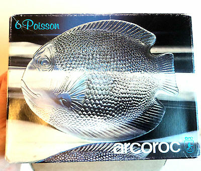 6x Boxed ARCOROC FISH SIDE PLATED Unused c.1980s PRESSED GLASS Poisson French