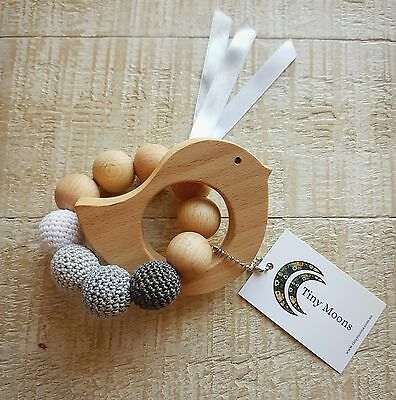 Soft Teething Toy with Wood & Cotton Natural Organic Teether for baby