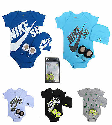 Nike SB Boys Baby Romper, Bootie and Hat Set Box Gift Packed 0-6 Months
