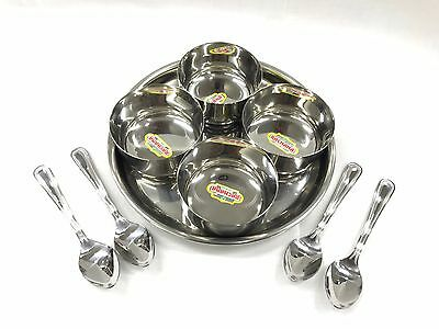 9 PC ROUND Stainless STEEL RELISH PICKLE CHUTNEY SERVING DISH BOWLS THALI SPOONS