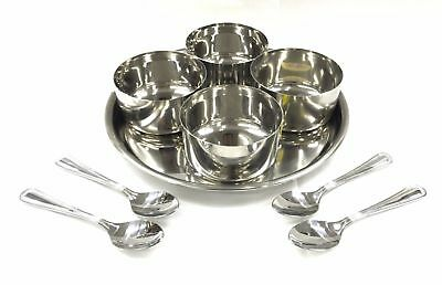 9 PC ROUND Stainless STEEL RELISH PICKLE CHUTNEY SERVING BOWLS THALI SPOON LARGE