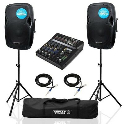 "2x Evolution Audio RZ12A V3 12"" PA DJ Speakers with Alto ZMX862 Mixer & Stands"