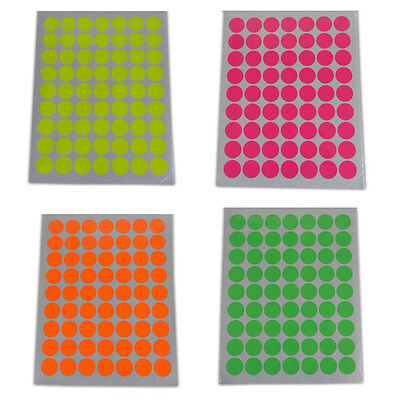 25mm Round Self Adhesive Label Stickers Fluorescent Neon Coloured Sticky Dots