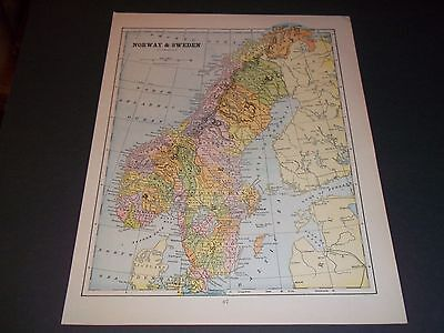 1891 NORWAY AND SWEDEN Antique color state map original authentic