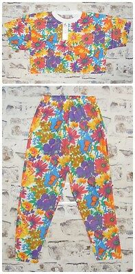 Size 8-10 vintage 80s deadstock crop t-shirt high waist trousers set floral NEW