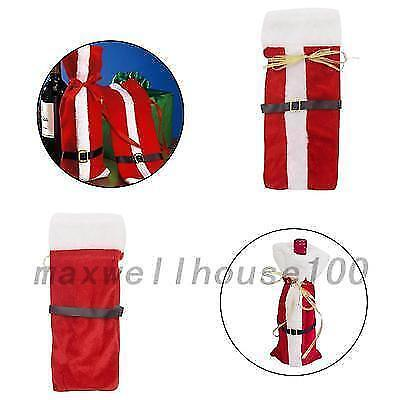 New Christmas Santa Clause Clothing Hat Dress Set Wine Bottle Cover Party Decor