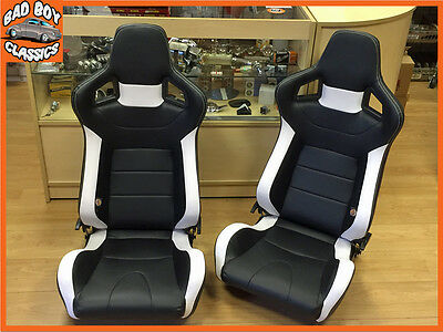 Pair BB6 Reclining Tilting Bucket Sports Seats Black / White Universal Design