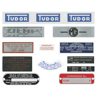 PART A265 DECAL KIT MGB GT 1970-1971 CHASSIS PLATE AND ENGINE BAY STICKER SET